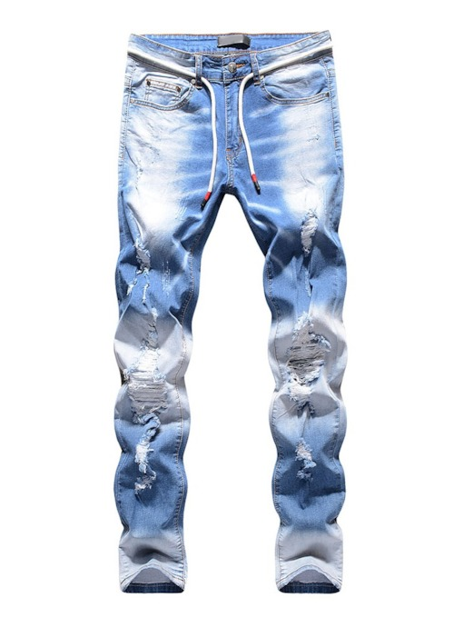 All-Seasons Straight Hole Denim Casual Men's Jeans