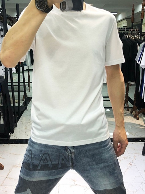 Round Neck Plain Print Casual Short Sleeve Men's T-shirt