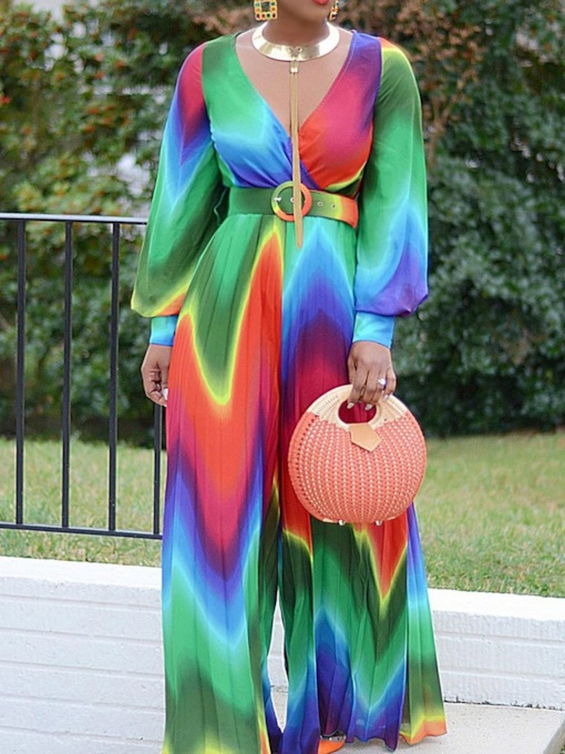 Office Lady Full Length Pleated Color Block Wide Legs Women's Jumpsuit