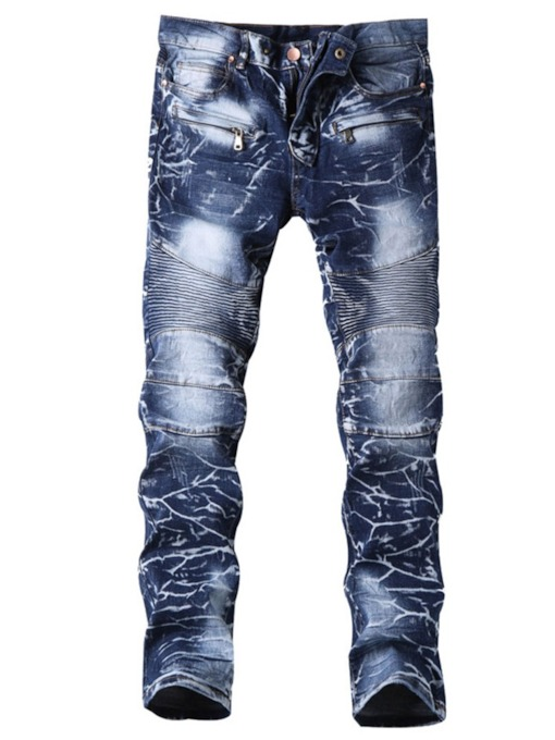 Straight Full Length Hole Straight Casual Men's Jeans