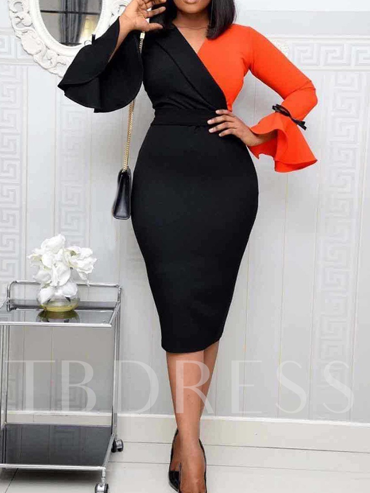 Office Lady V-Neck Mid-Calf Long Sleeve Patchwork Pullover Women's Dress