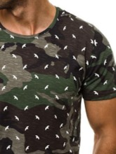 Casual Round Neck Print Camouflage Short Sleeve Men's T-shirt