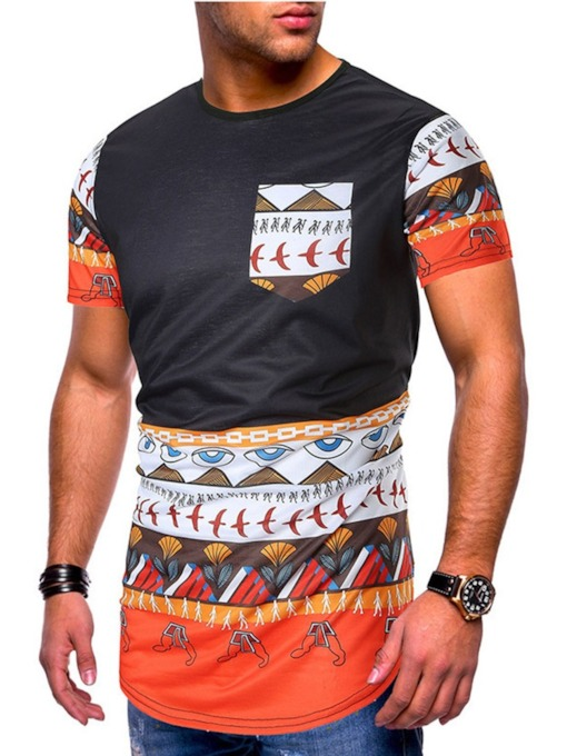 Casual Print Round Neck Summer Short Sleeve Men's T-shirt
