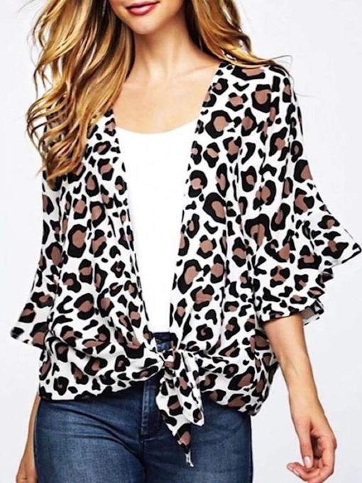 Mid-Length Casual Leopard Three-Quarter Sleeve Loose Women's Blouse