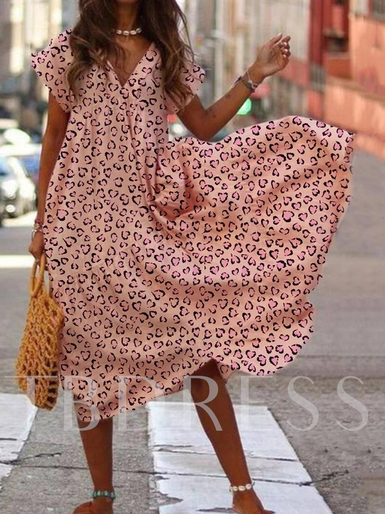 Print Mid-Calf V-Neck Short Sleeve Expansion Women's Dress