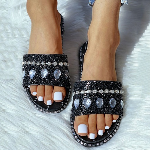 Flat With Slip-On Rhinestone Flip Flop Casual Slippers