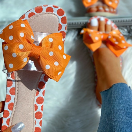 Print Slip-On Flat With Flip Flop Polka Dot Slippers