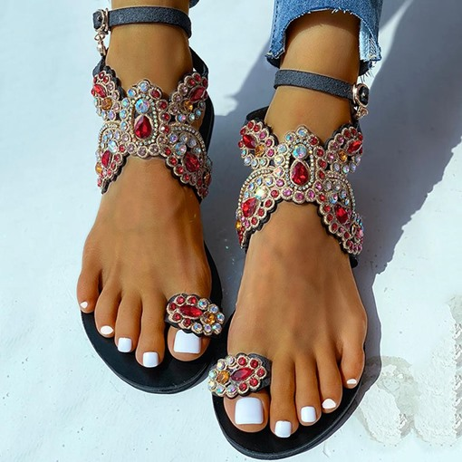 Line-Style Buckle Toe Ring Flat With Thread Sandals