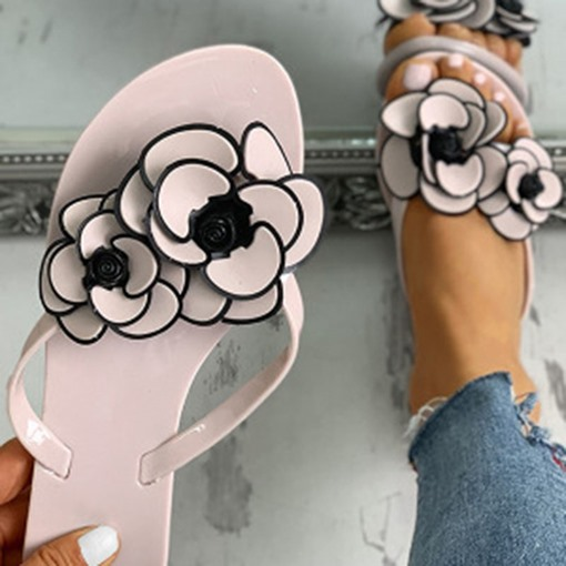 3D Slip-On Thong Flat With Floral Slippers