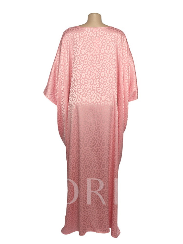 Floor-Length Nine Points Sleeve Lace-Up Round Neck Batwing Sleeve Women's Dress