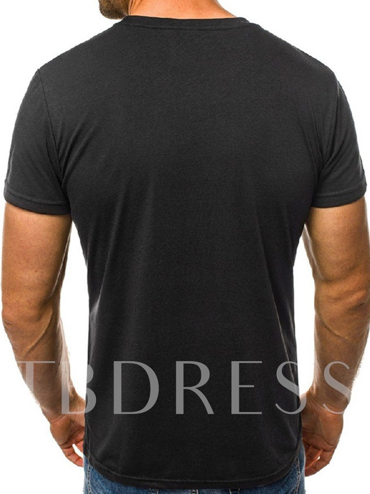 Casual Round Neck Loose Print Short Sleeve Men's T-shirt