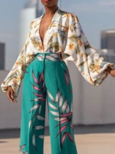 Puff Sleeve V-Neck Print Floral Long Sleeve Women's Blouse