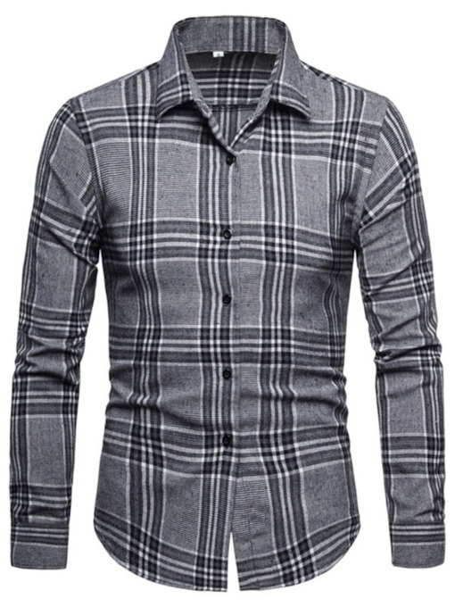 Plaid Korean Print Lapel Spring Men's Shirt