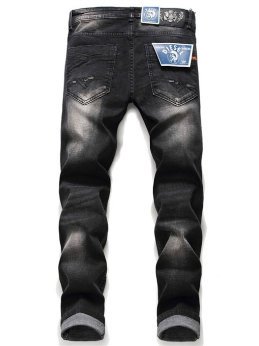 Letter Straight Embroidery European Men's Jeans