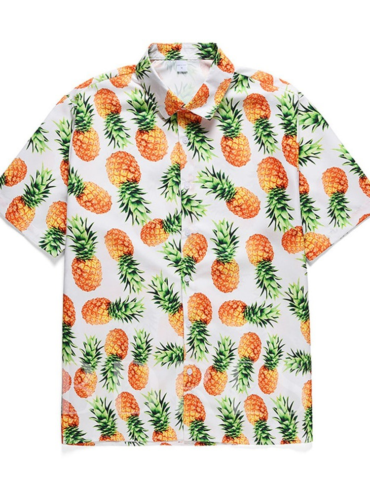 Summer Shirt Print Casual Plant Fall Men's Outfit