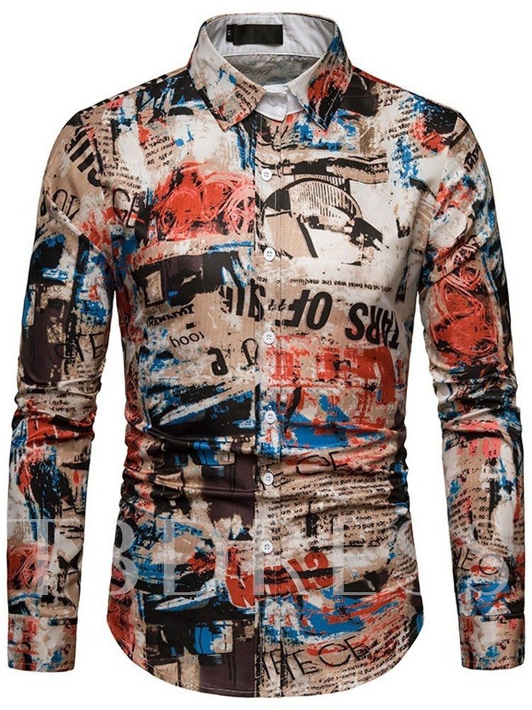 Casual Print Camouflage Lapel Single-Breasted Men's Shirt