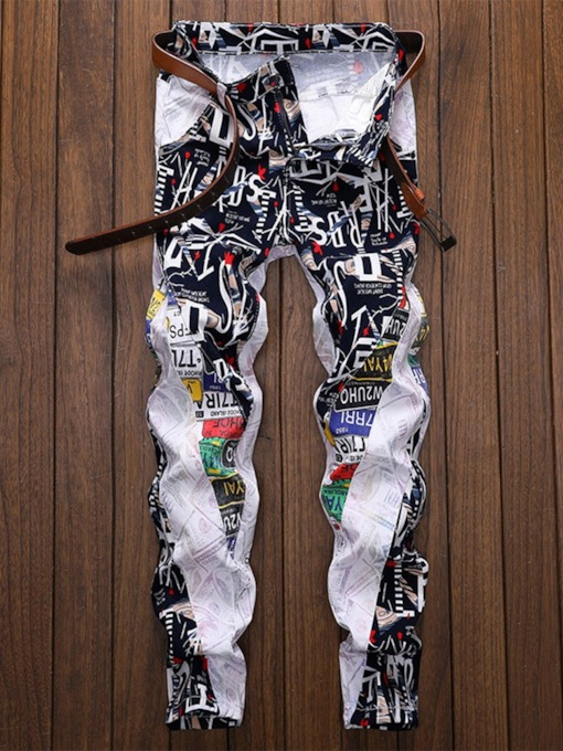 Patchwork Letter Straight Zipper Men's Jeans