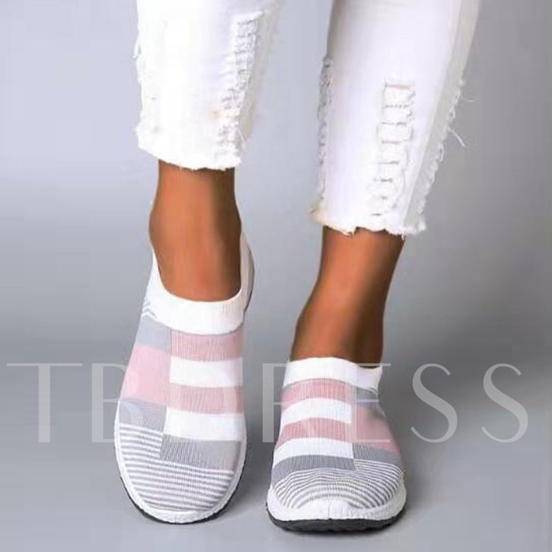 Print Flat With Slip-On Round Toe Color Block Thin Shoes