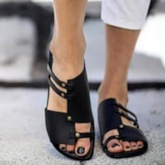 Hollow Flat With Flip Flop Slip-On Plain Slippers