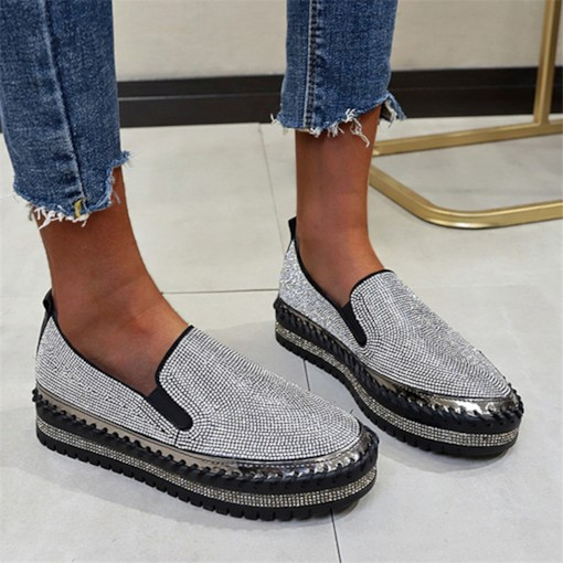 slip-on strass bout rond 4cm chaussures minces