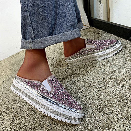 Closed Toe Sequin Slip-On Platform Casual Slippers