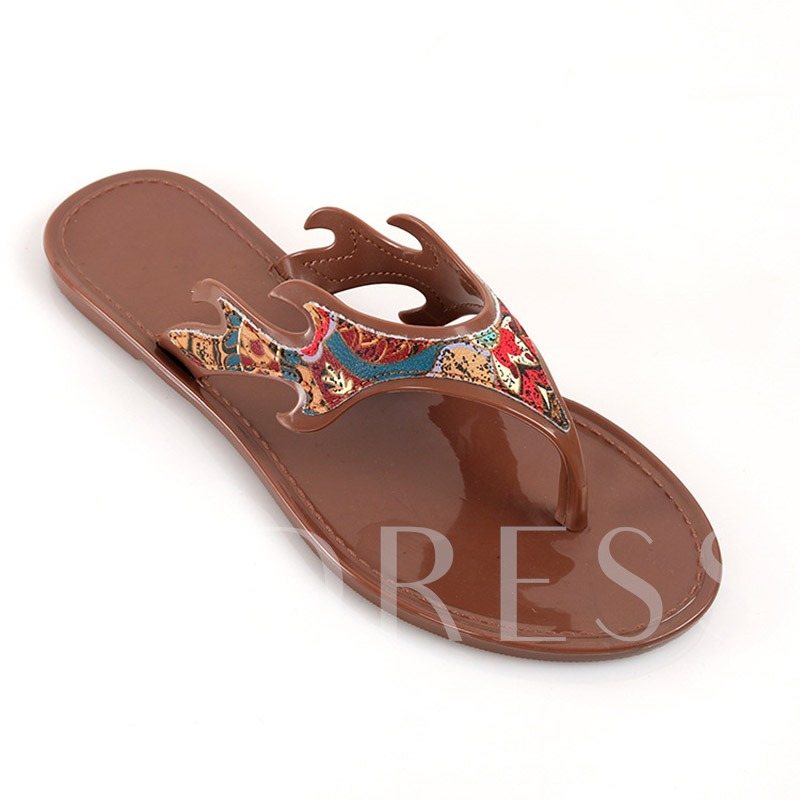 Slip-On Thread Flat With Thong PVC Slippers
