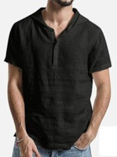 Plain Button European Summer Men's Shirt