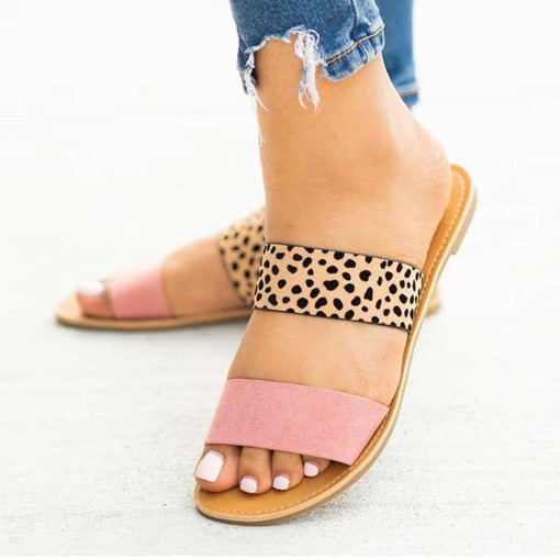 Slip-On Flip Flop Flat With Color Block Slippers