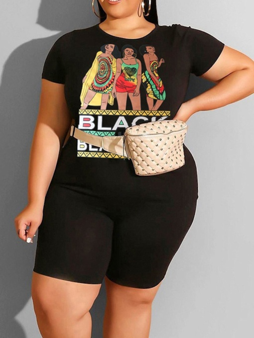Plus Size T-Shirt Western Print Pullover Women's Two Piece Sets