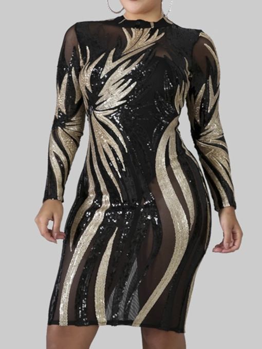 Plus Size Above Knee Long Sleeve Round Neck Sequins Western Women's Dress