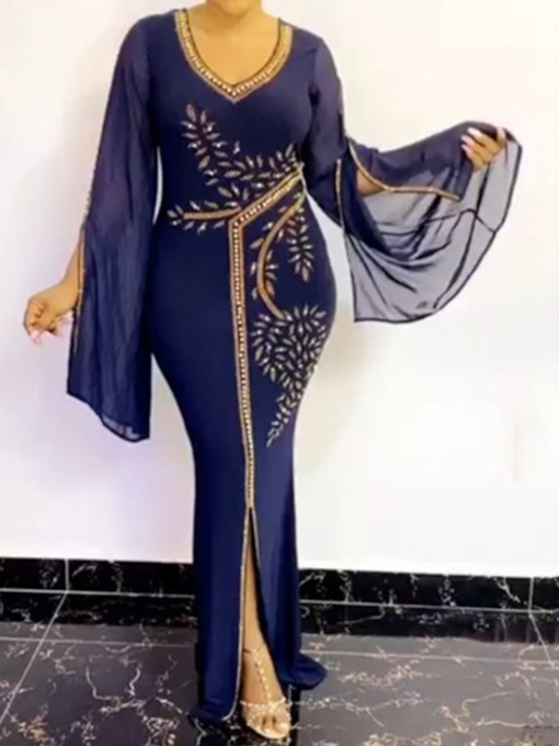 Plus Size Bead Floor-Length V-Neck Long Sleeve Mermaid Women's Dress