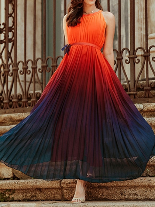Ankle-Length Pleated Round Neck Sleeveless Pleated Women's Dress