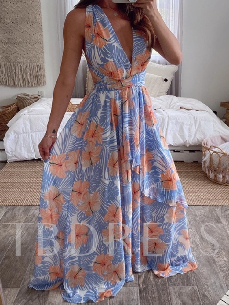 Print Ankle-Length V-Neck Sleeveless Mid Waist Women's Dress