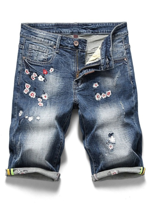 Pocket Thin Floral Straight Zipper Men's Jeans