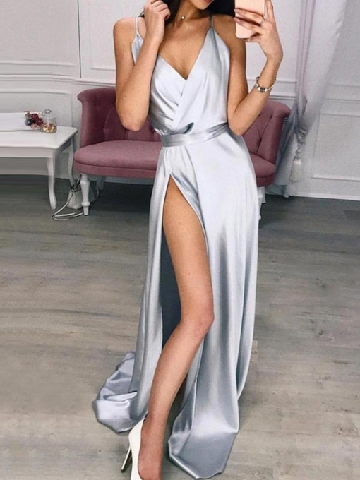 Sleeveless Split V-Neck Floor-Length All-Season Women's Dress