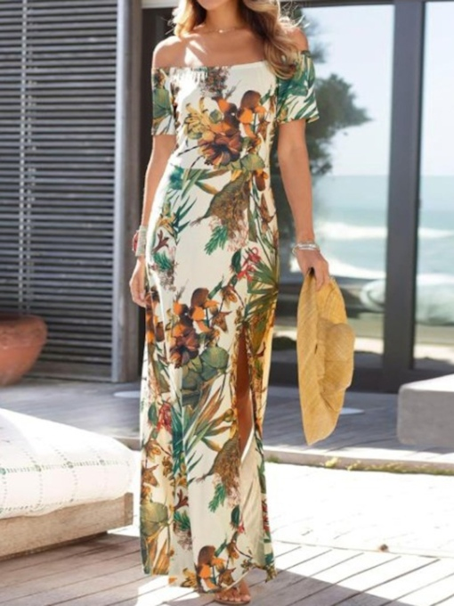 Print Short Sleeve Off Shoulder Floor-Length Mid Waist Women's Dress