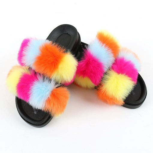 Casual Flat With Flip Flop Pompon Slip-On Four Seasons Slippers