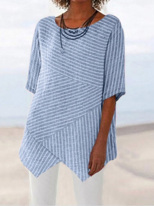 Round Neck Mid-Length Stripe Women's Blouse