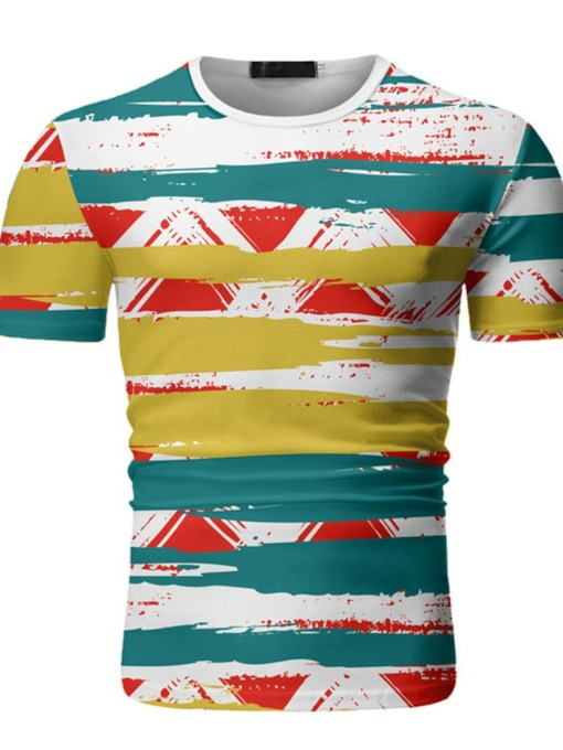 Hand Painted Round Neck Casual Print Short Sleeve Men's T-shirt