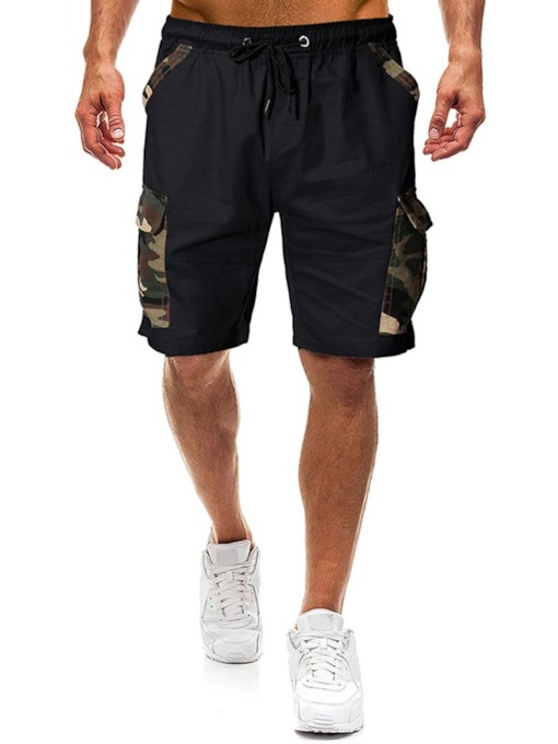 Print Straight Camouflage Mid Waist Men's Casual Pants
