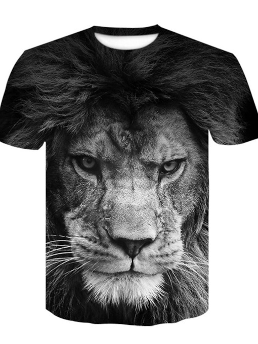 Print Casual Animal Round Neck Pullover Men's T-shirt