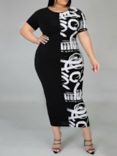 Plus Size Mid-Calf Print Short Sleeve Round Neck Pullover Women's Dress