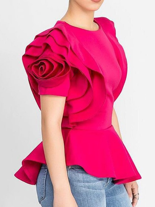 Patchwork Round Neck Ruffle Sleeve Floral Standard Women's Blouse