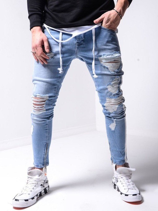 Pencil Pants Zipper Mid Waist Men's Jeans