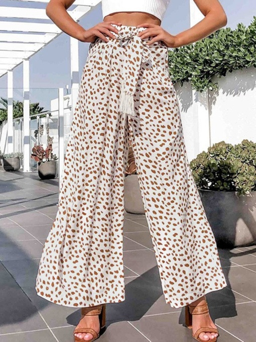 Leopard Loose Lace-Up High Waist Women's Casual Pants