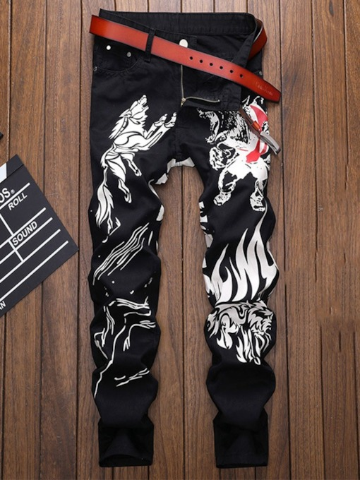 Straight Print Zipper Men's Jeans