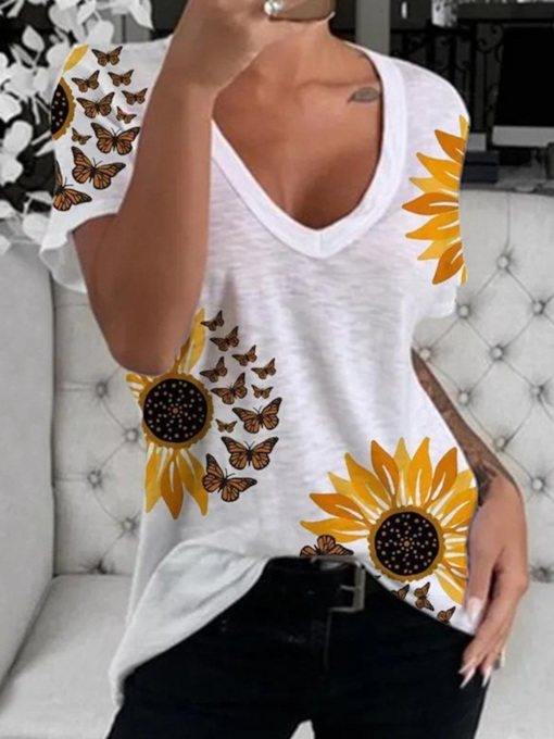 V-Neck Short Sleeve Floral Mid-Length Casual Women's T-Shirt