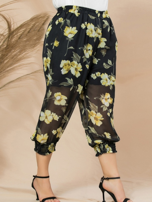 Summer Floral Print Loose Mid Waist Women's Casual Pants
