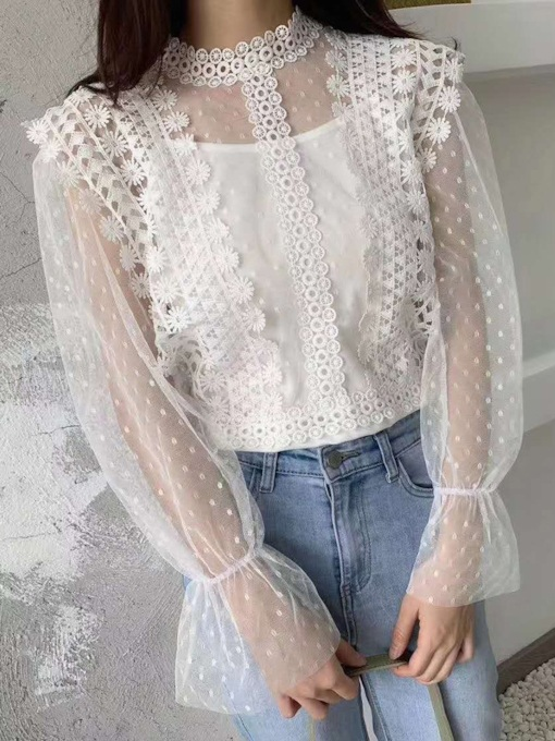 See-Through Flare Sleeve Plain Stand Collar Standard Women's Blouse