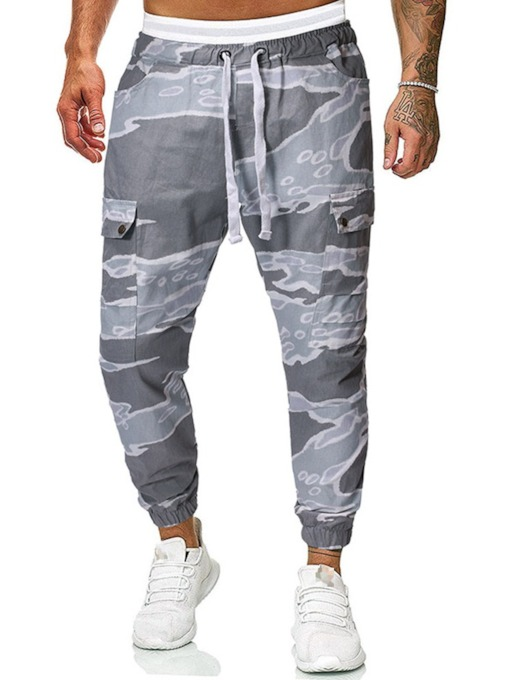 Summer Print Camouflage Lace-Up Men's Casual Pants